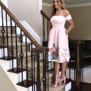 Dresses & Skirts - Midi cocktail scuba dress pink florals